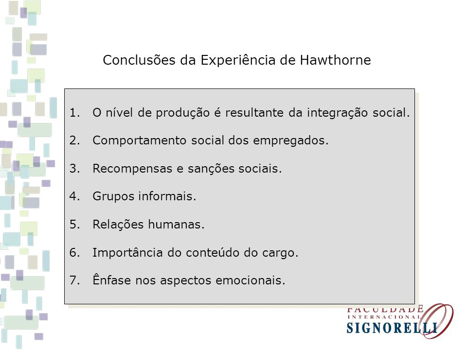 Conclusões da Experiência de Hawthorne