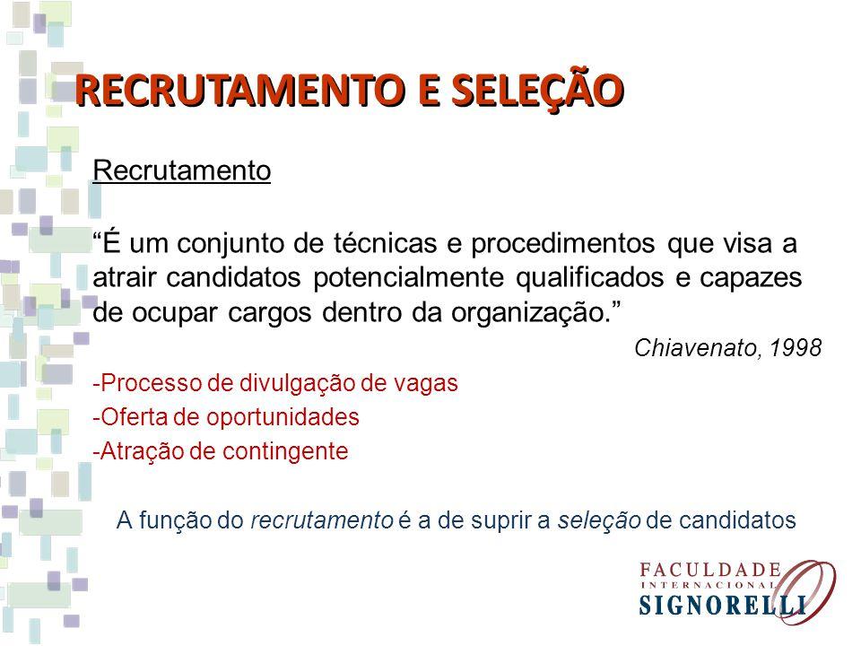 A função do recrutamento é a de suprir a seleção de candidatos