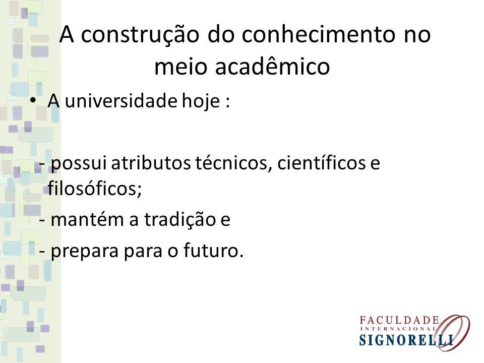 A construção do conhecimento no meio acadêmico