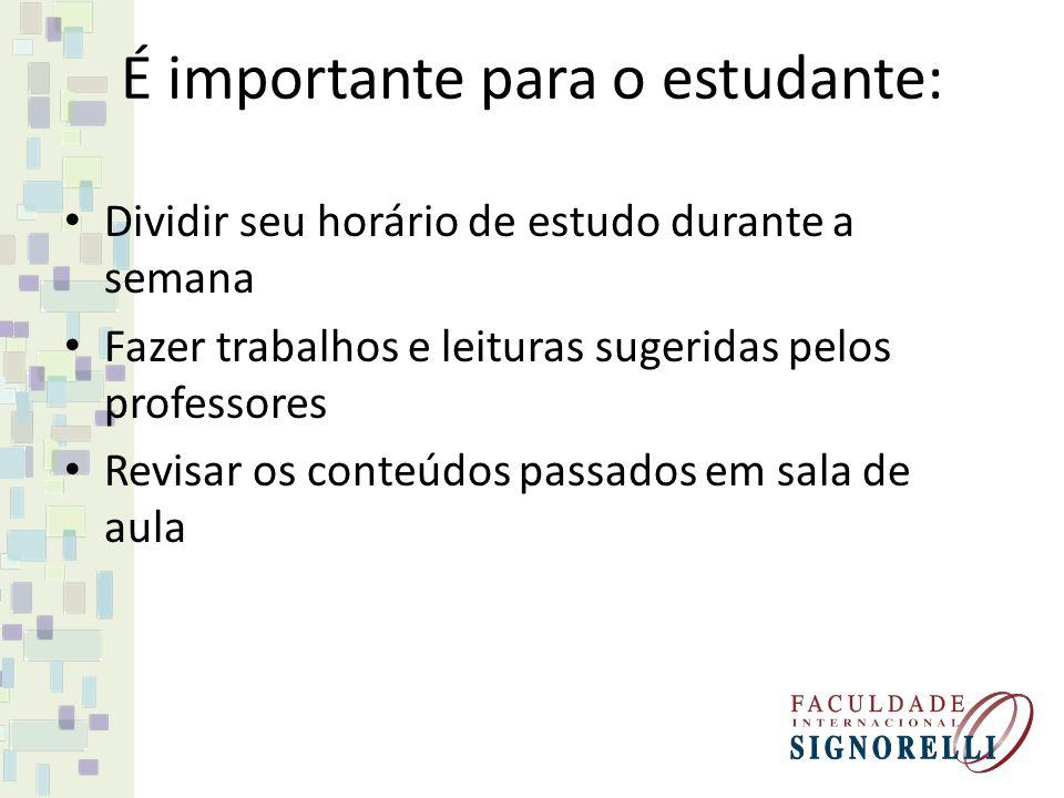 É importante para o estudante: