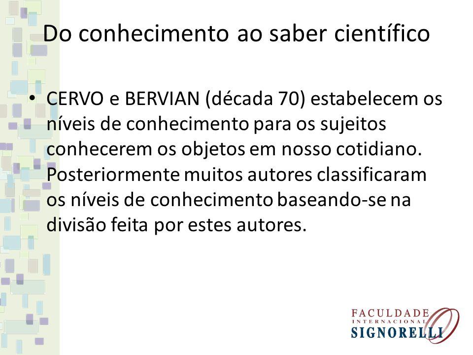 Do conhecimento ao saber científico