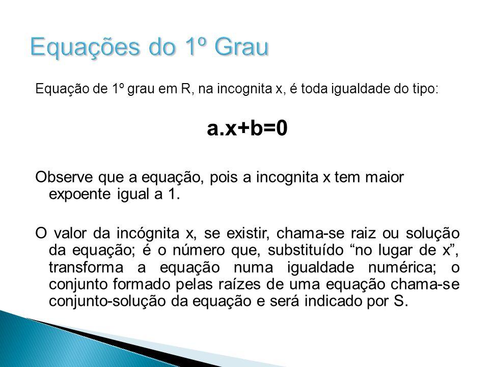 Equações do 1º Grau a.x+b=0