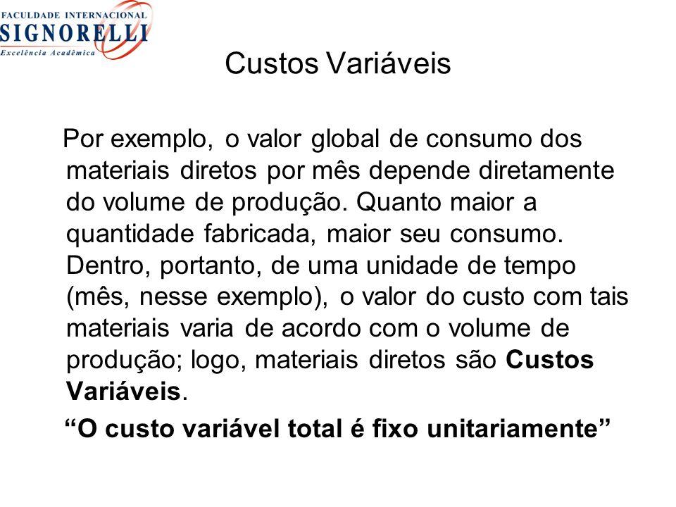 O custo variável total é fixo unitariamente