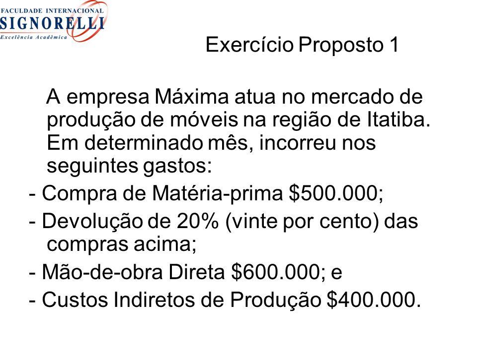 Exercício Proposto 1 A empresa Máxima atua no mercado de produção de móveis na região de Itatiba. Em determinado mês, incorreu nos seguintes gastos: