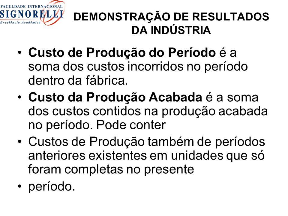 DEMONSTRAÇÃO DE RESULTADOS DA INDÚSTRIA
