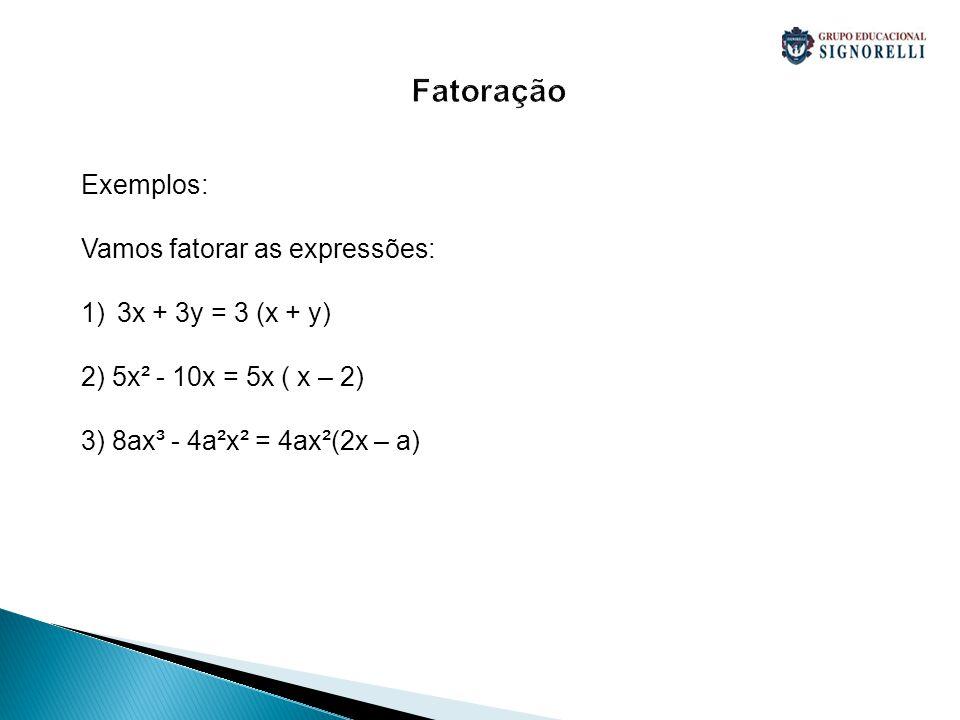 Fatoração Exemplos: Vamos fatorar as expressões: 3x + 3y = 3 (x + y)