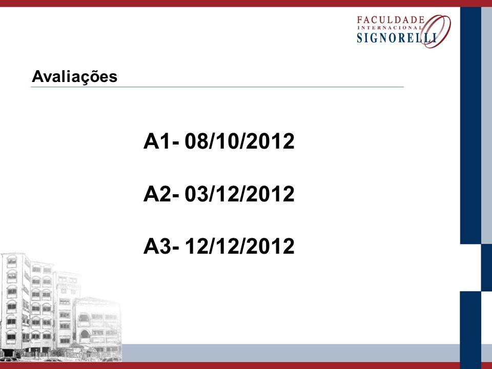 Avaliações A1- 08/10/2012 A2- 03/12/2012 A3- 12/12/2012