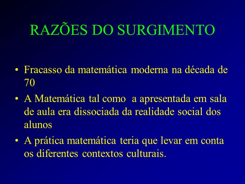 RAZÕES DO SURGIMENTO Fracasso da matemática moderna na década de 70