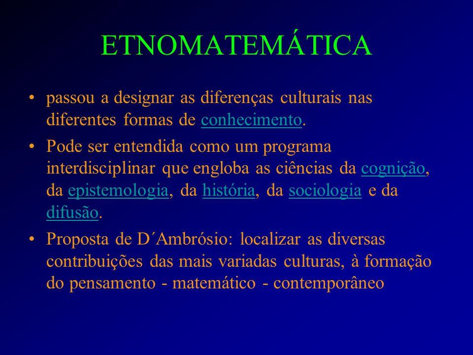 ETNOMATEMÁTICA passou a designar as diferenças culturais nas diferentes formas de conhecimento.