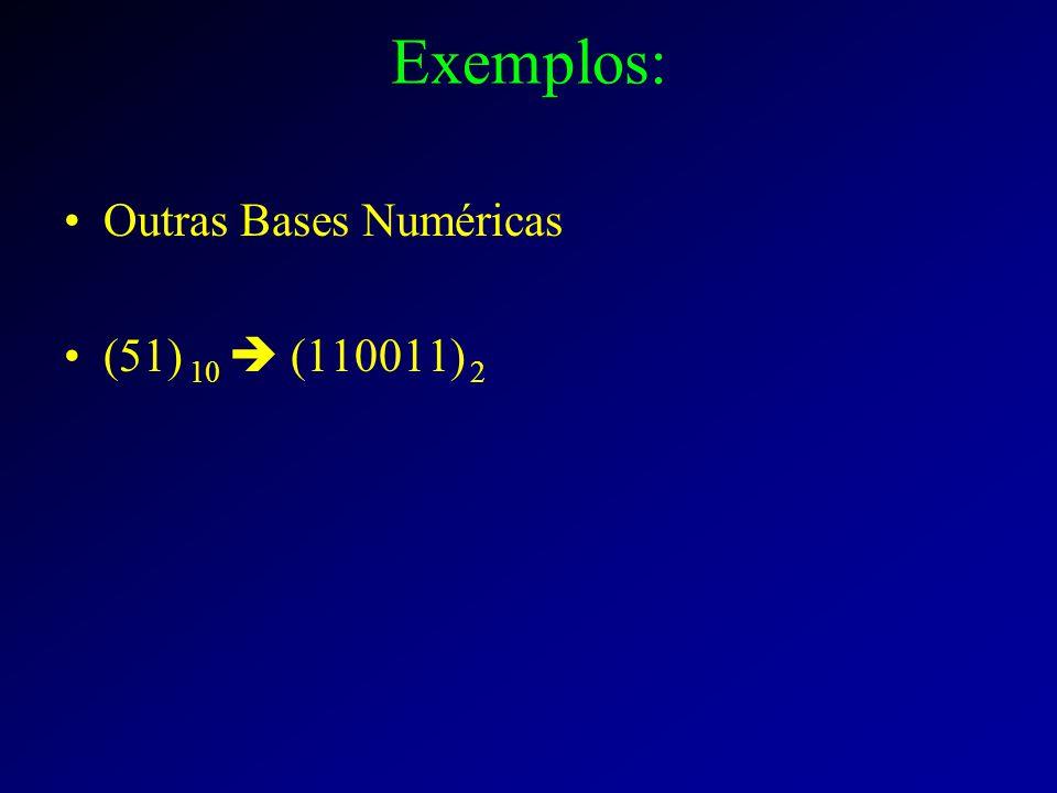 Exemplos: Outras Bases Numéricas (51) 10  (110011) 2