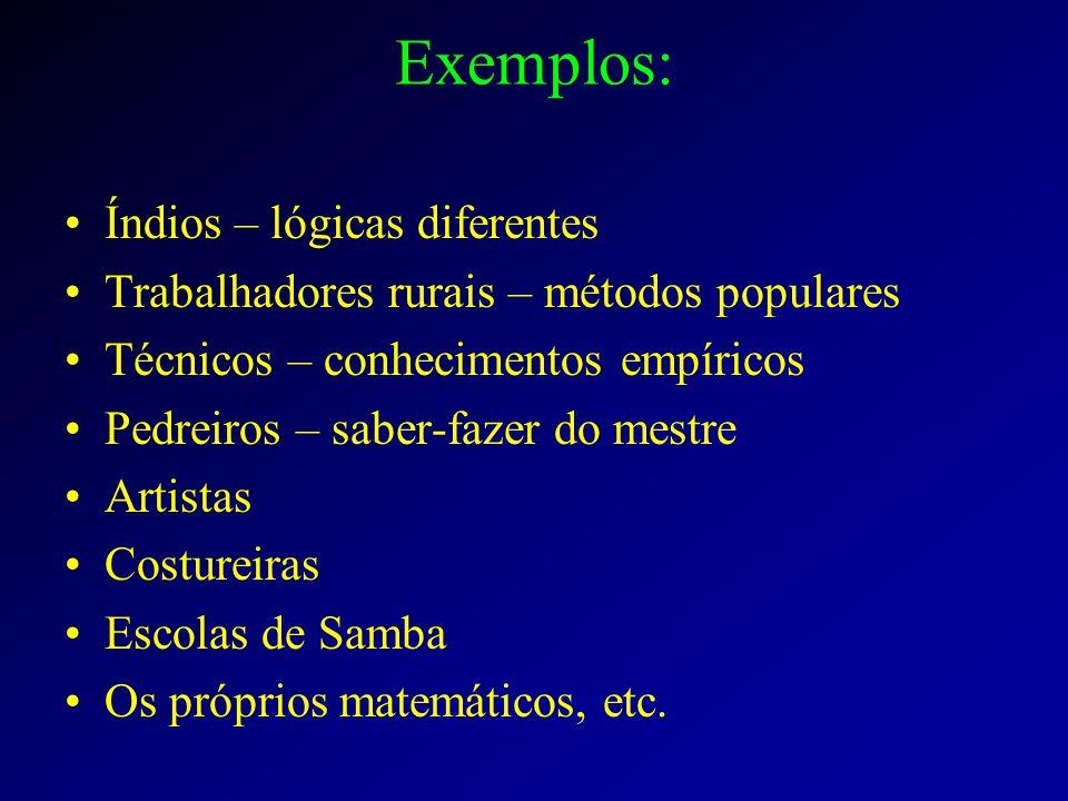 Exemplos: Índios – lógicas diferentes