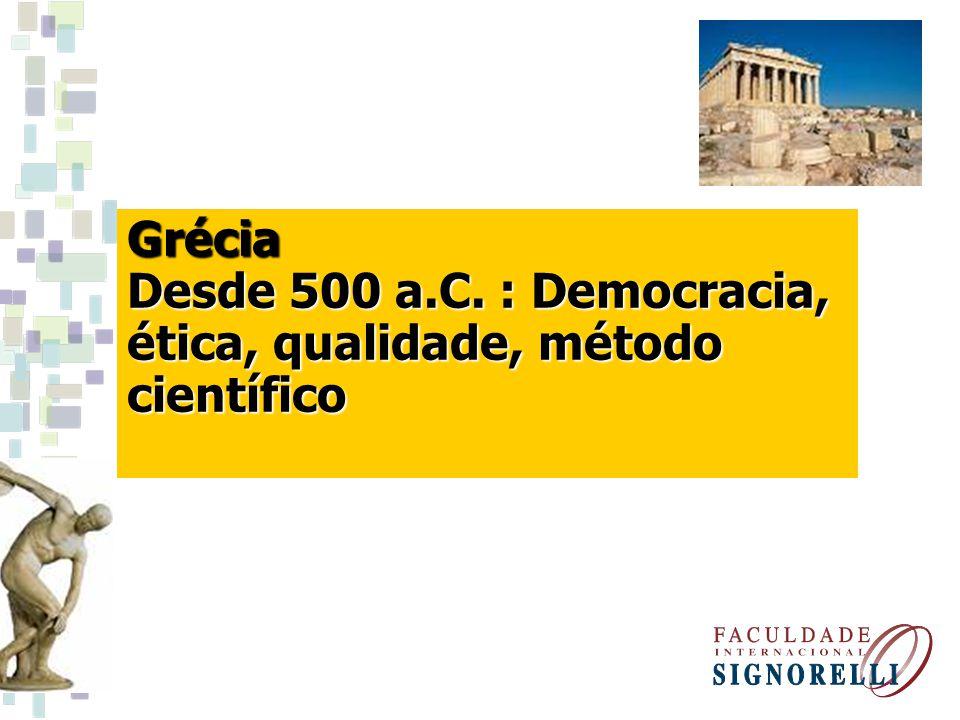 Grécia Desde 500 a.C. : Democracia, ética, qualidade, método científico