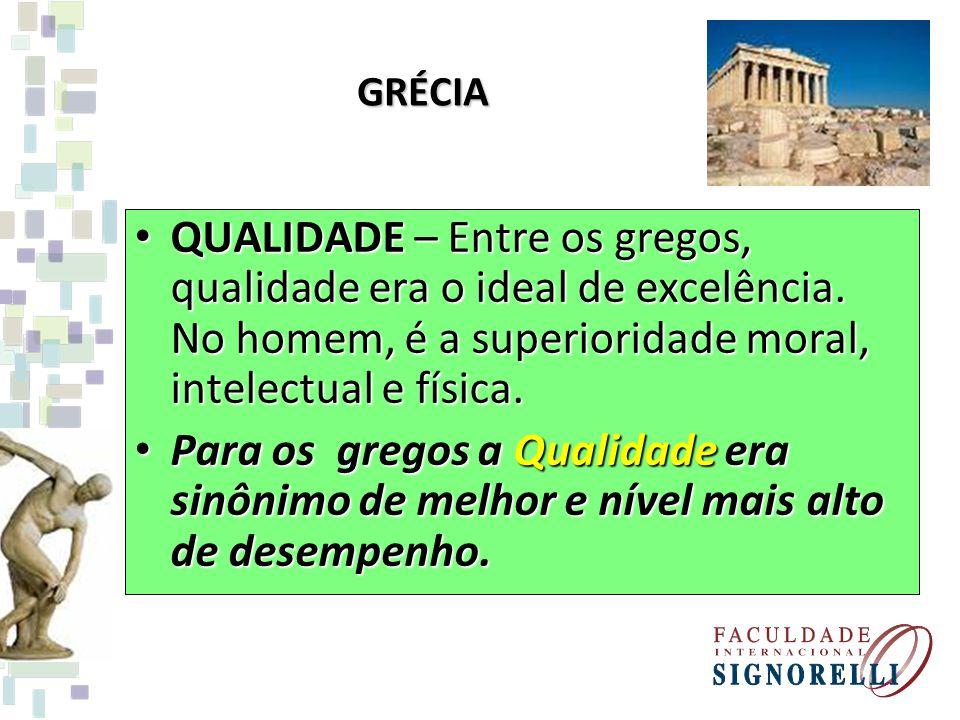GRÉCIA QUALIDADE – Entre os gregos, qualidade era o ideal de excelência. No homem, é a superioridade moral, intelectual e física.