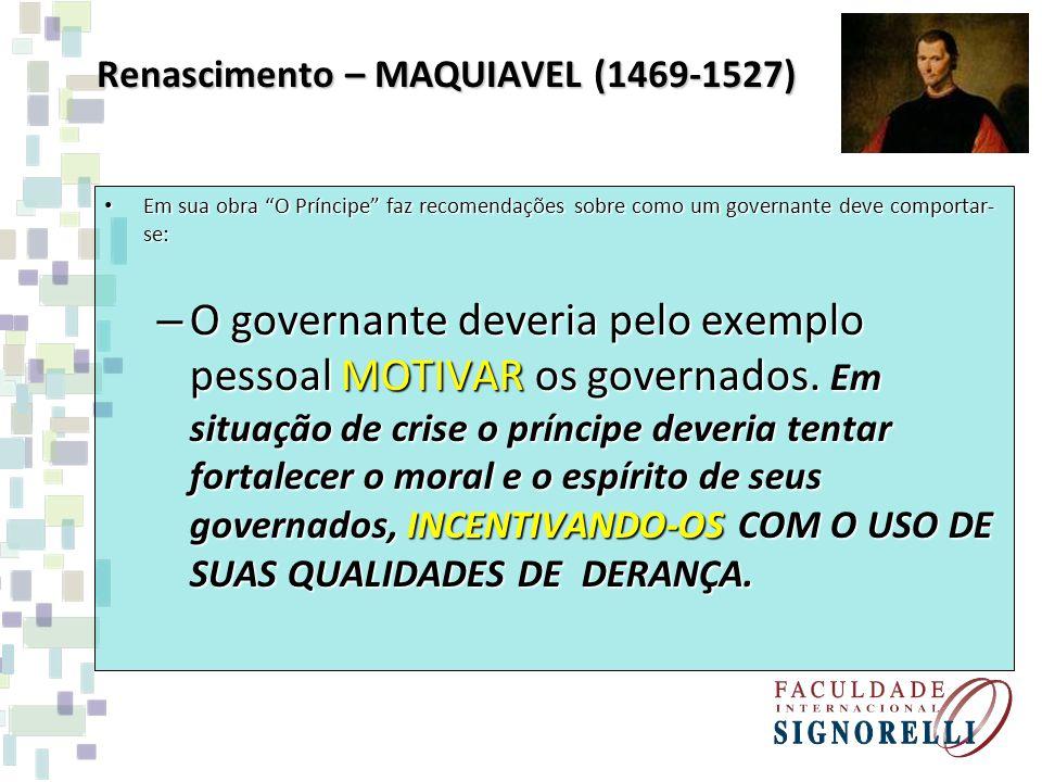 Renascimento – MAQUIAVEL (1469-1527)