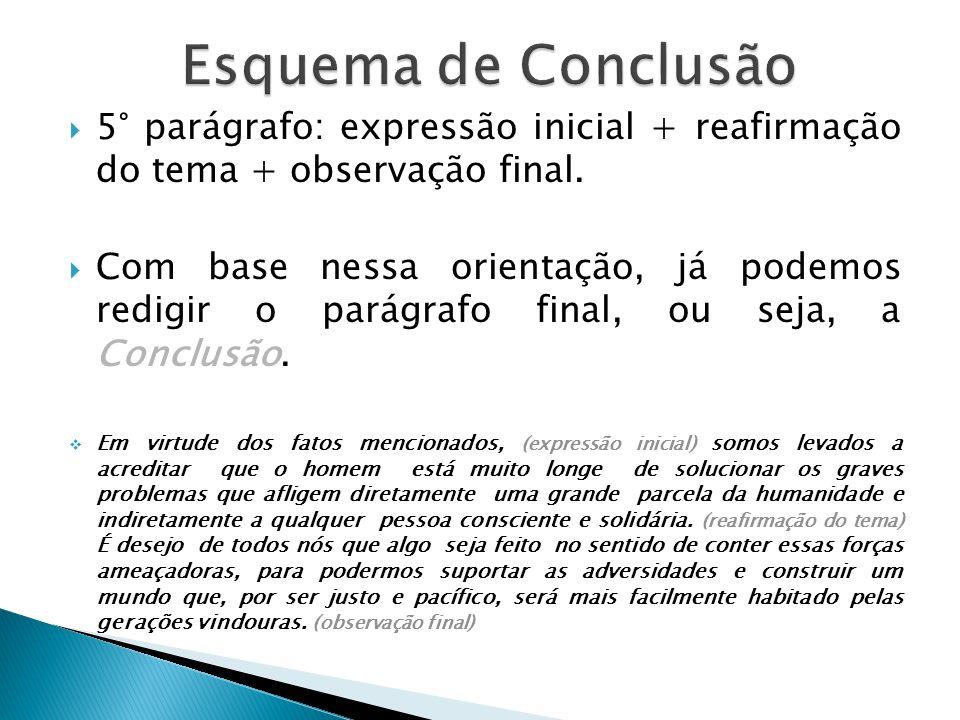 Esquema de Conclusão 5° parágrafo: expressão inicial + reafirmação do tema + observação final.