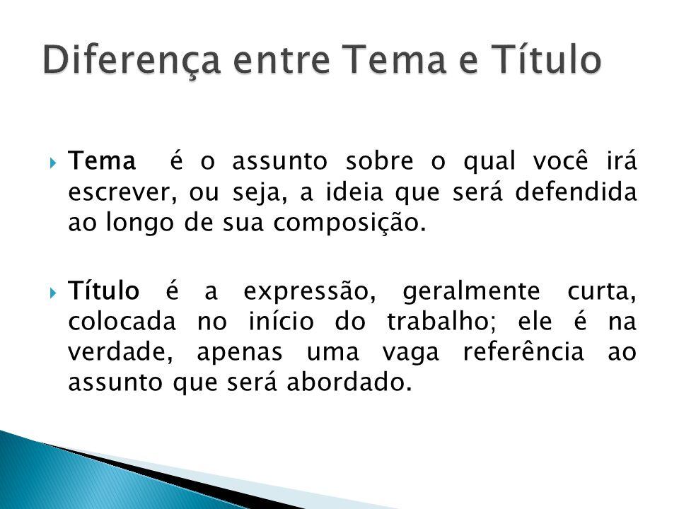 Diferença entre Tema e Título
