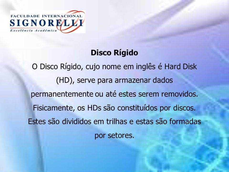 Disco Rígido O Disco Rígido, cujo nome em inglês é Hard Disk (HD), serve para armazenar dados permanentemente ou até estes serem removidos.