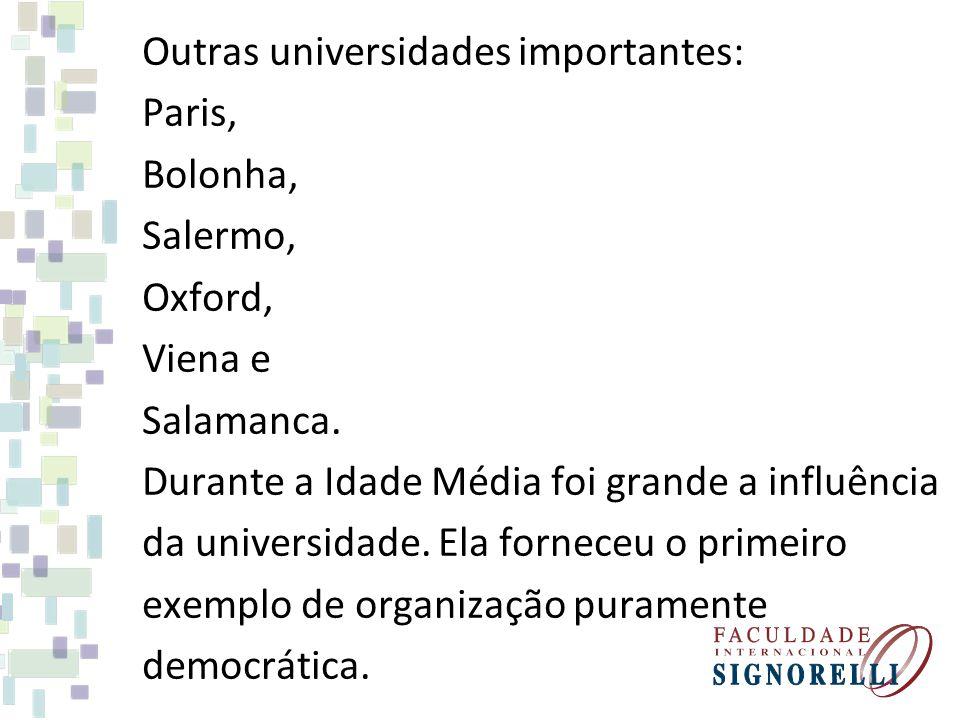 Outras universidades importantes: