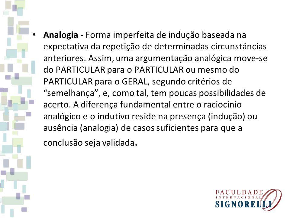 Analogia - Forma imperfeita de indução baseada na expectativa da repetição de determinadas circunstâncias anteriores.