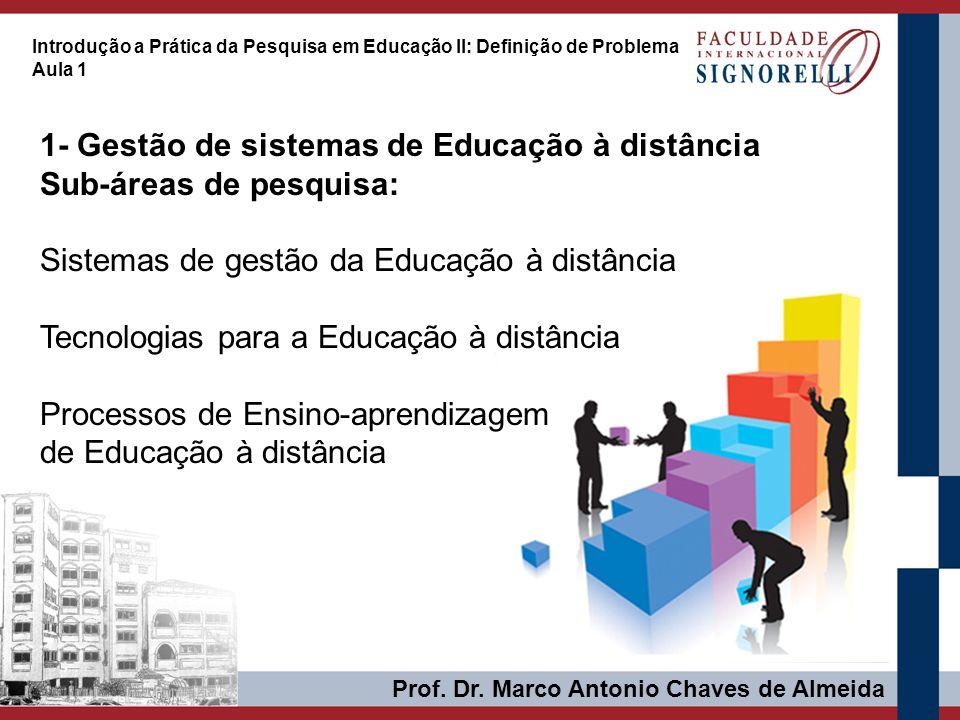 1- Gestão de sistemas de Educação à distância Sub-áreas de pesquisa:
