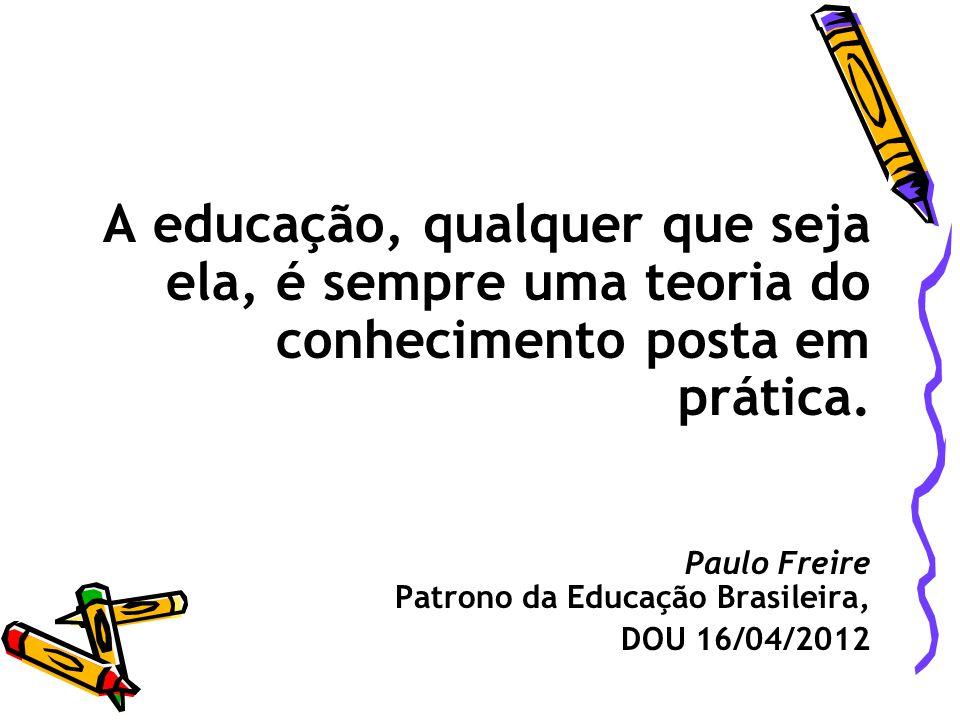 A educação, qualquer que seja ela, é sempre uma teoria do conhecimento posta em prática.