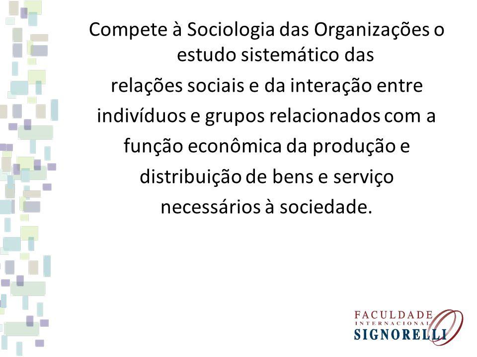 Compete à Sociologia das Organizações o estudo sistemático das