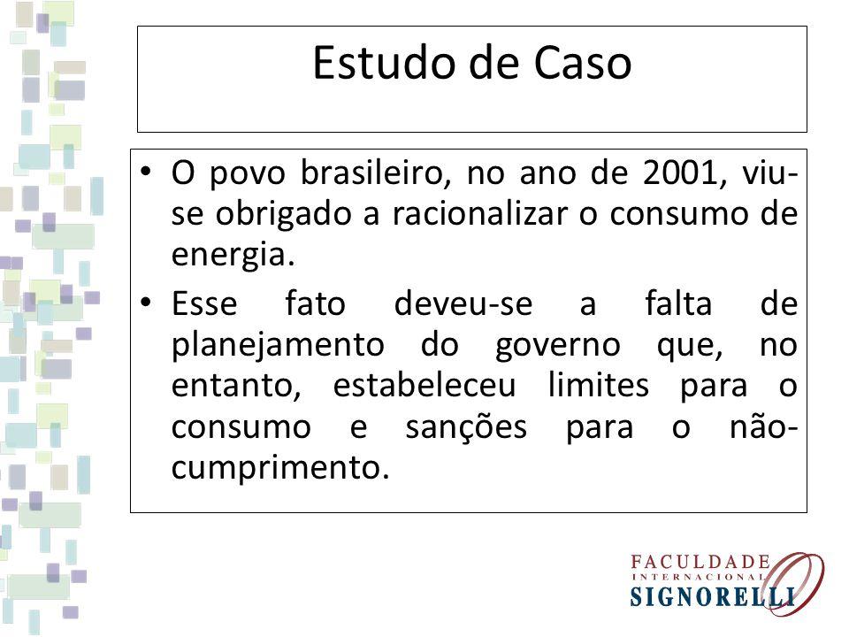 Estudo de Caso O povo brasileiro, no ano de 2001, viu-se obrigado a racionalizar o consumo de energia.
