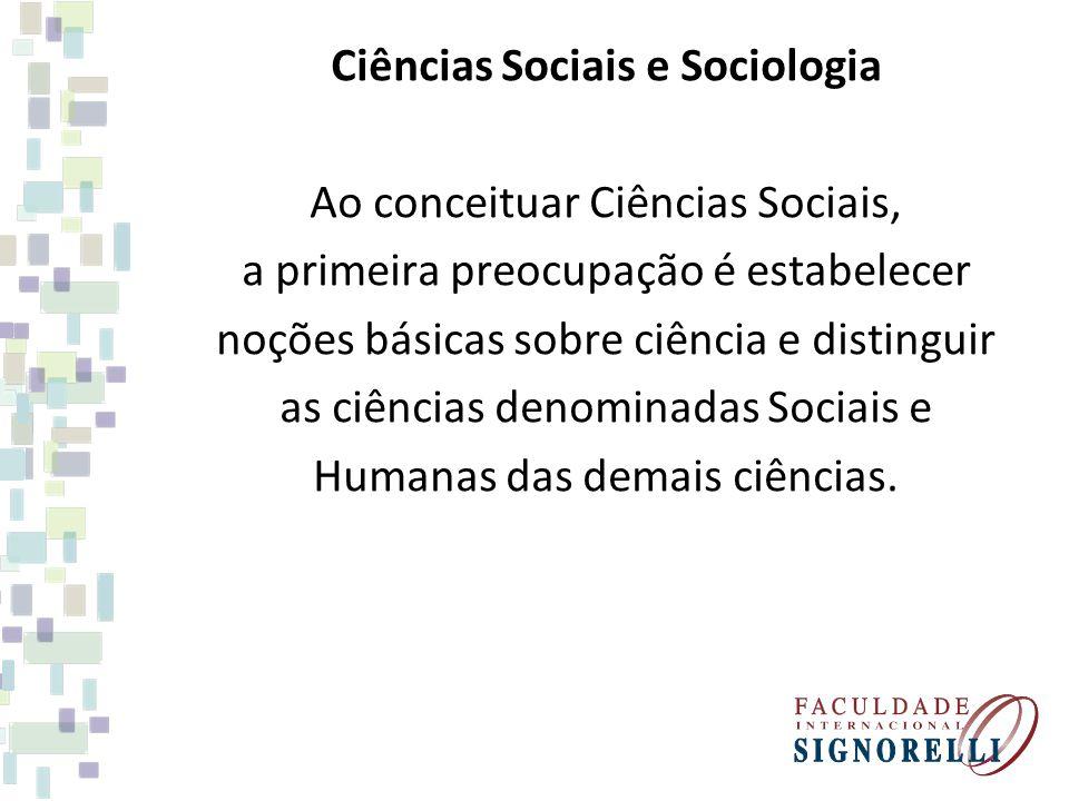 Ciências Sociais e Sociologia