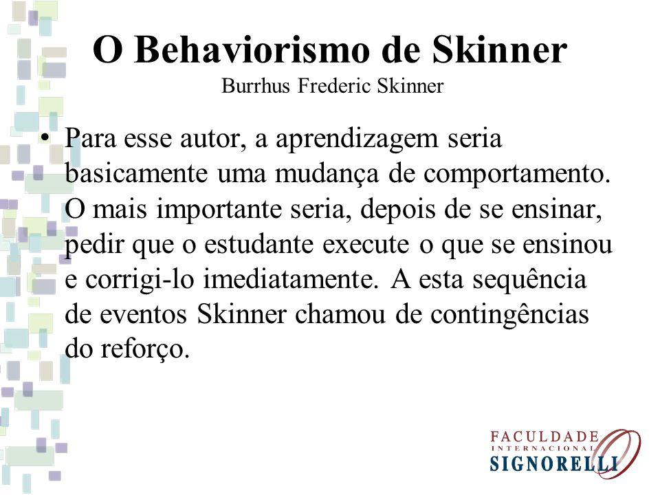 O Behaviorismo de Skinner Burrhus Frederic Skinner