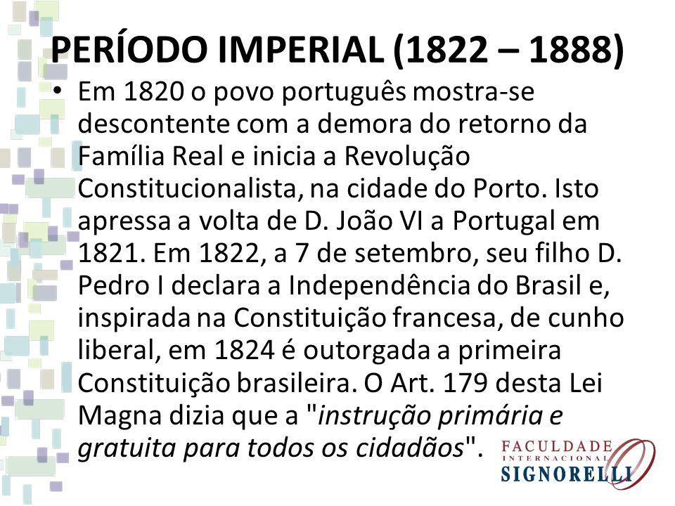 PERÍODO IMPERIAL (1822 – 1888)