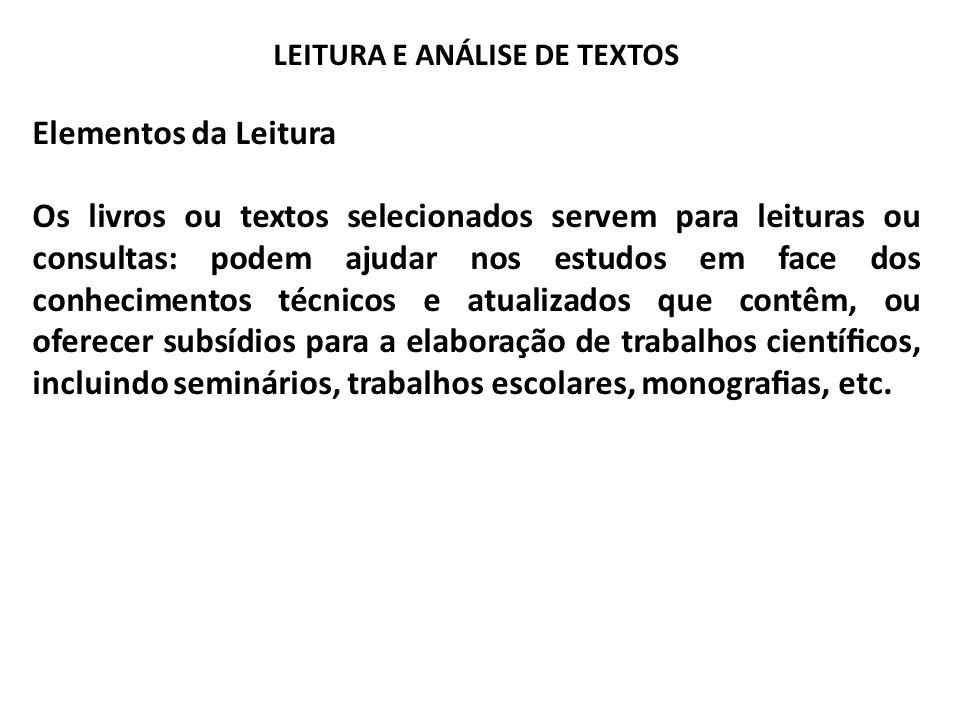LEITURA E ANÁLISE DE TEXTOS