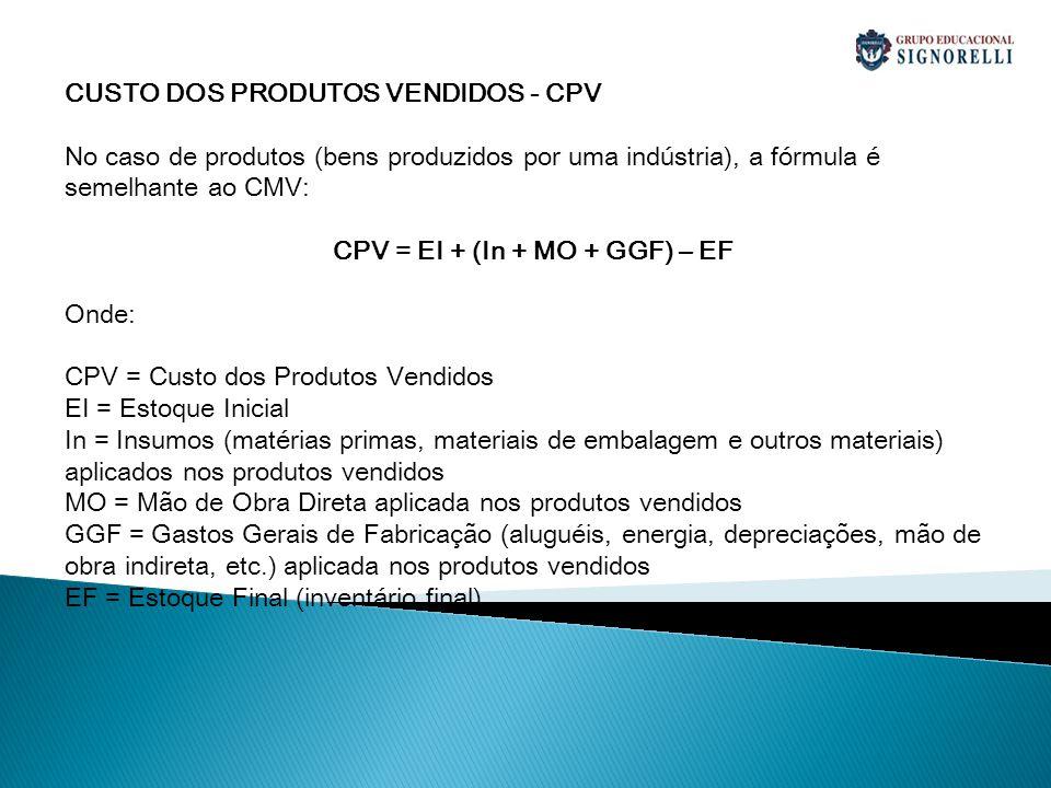 CPV = EI + (In + MO + GGF) – EF