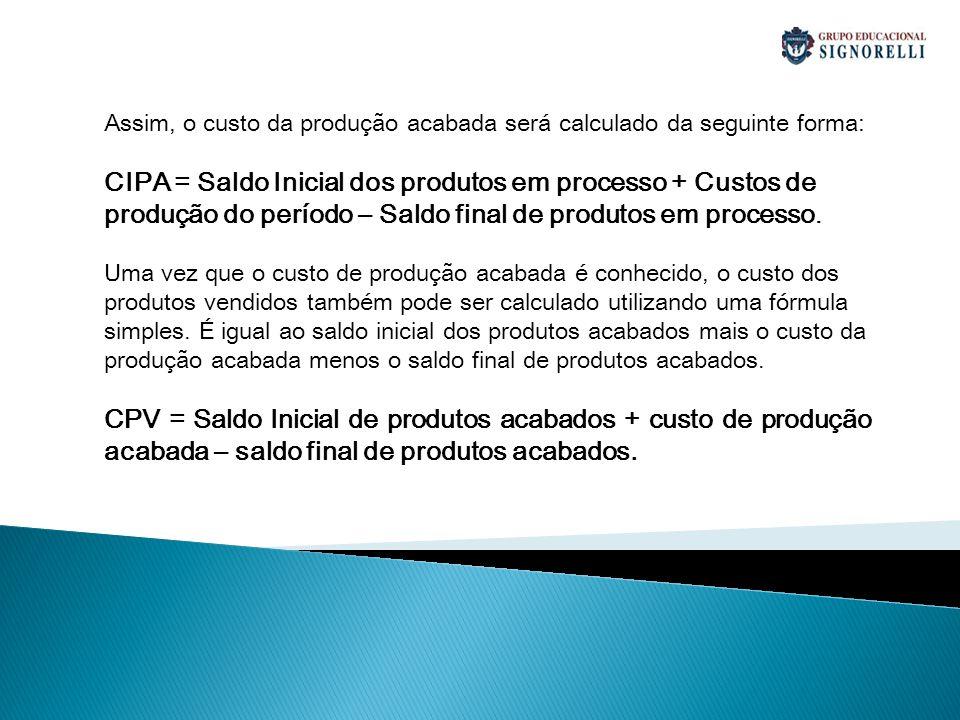 Assim, o custo da produção acabada será calculado da seguinte forma: