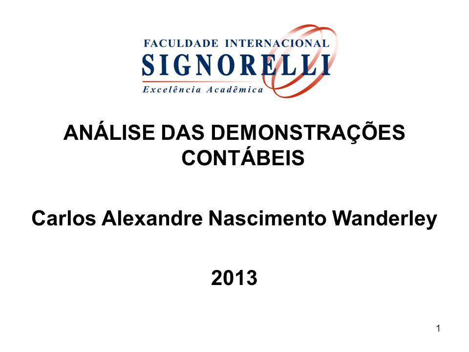 ANÁLISE DAS DEMONSTRAÇÕES CONTÁBEIS Carlos Alexandre Nascimento Wanderley 2013