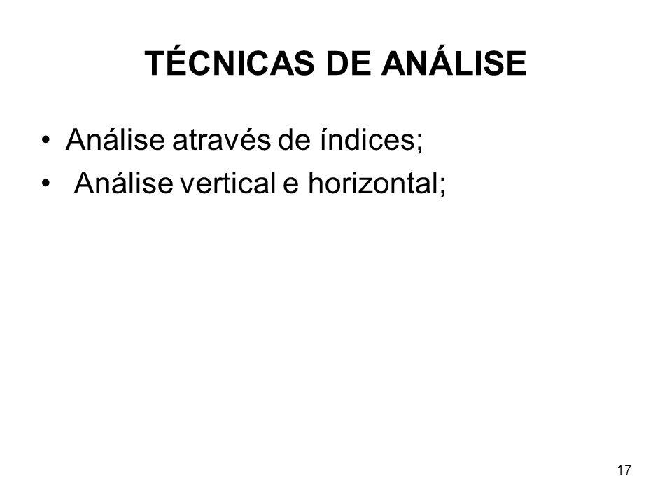TÉCNICAS DE ANÁLISE Análise através de índices;
