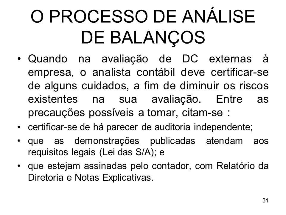 O PROCESSO DE ANÁLISE DE BALANÇOS