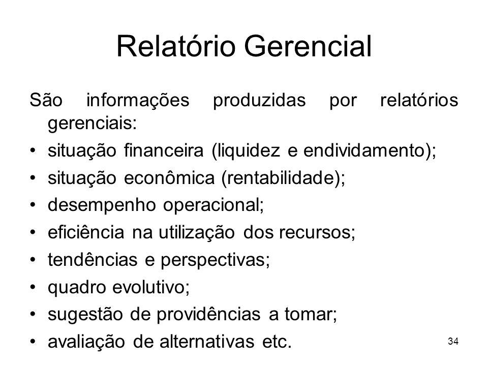 Relatório Gerencial São informações produzidas por relatórios gerenciais: situação financeira (liquidez e endividamento);