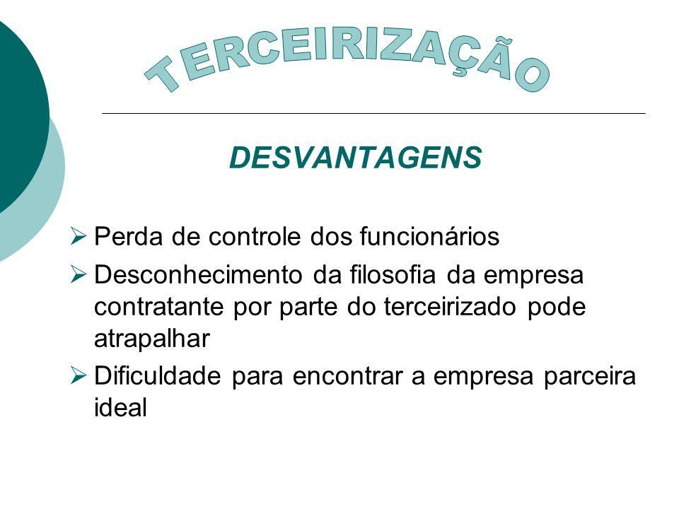 TERCEIRIZAÇÃO DESVANTAGENS Perda de controle dos funcionários