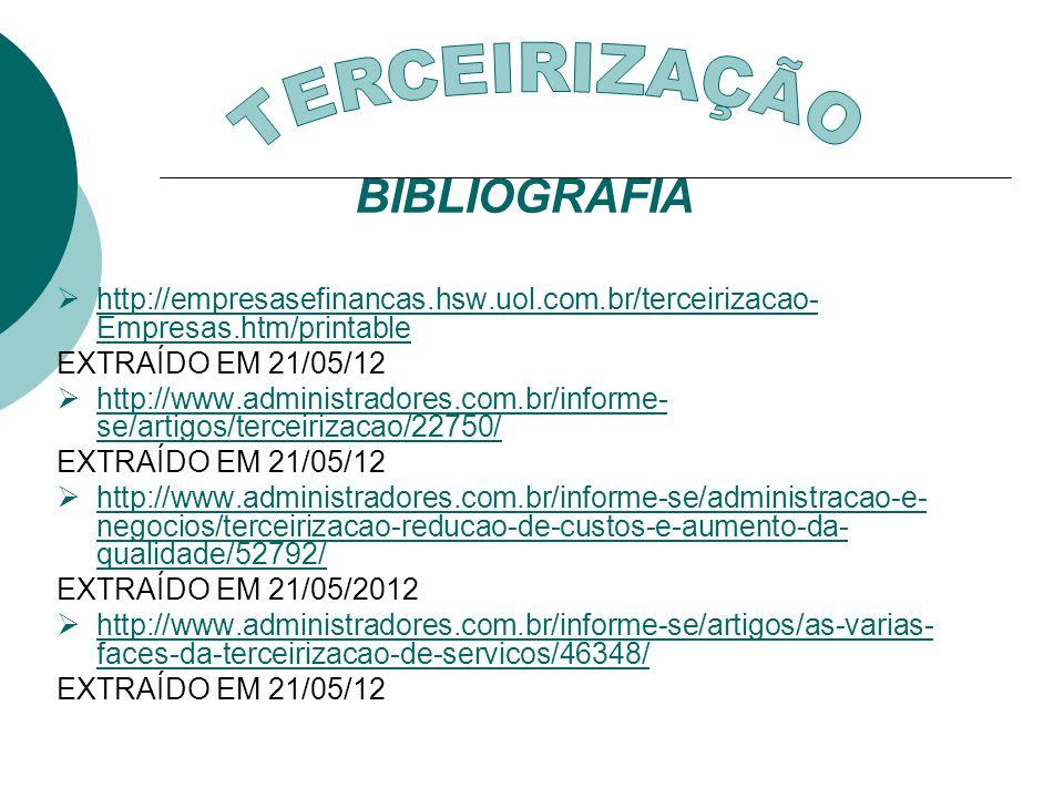 TERCEIRIZAÇÃO BIBLIOGRAFIA