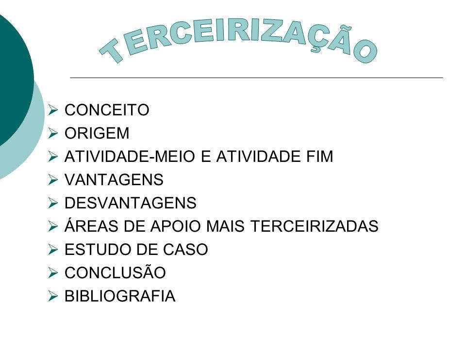 TERCEIRIZAÇÃO CONCEITO ORIGEM ATIVIDADE-MEIO E ATIVIDADE FIM VANTAGENS