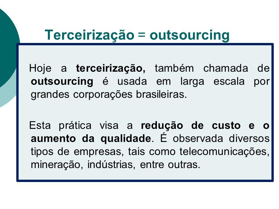 Terceirização = outsourcing