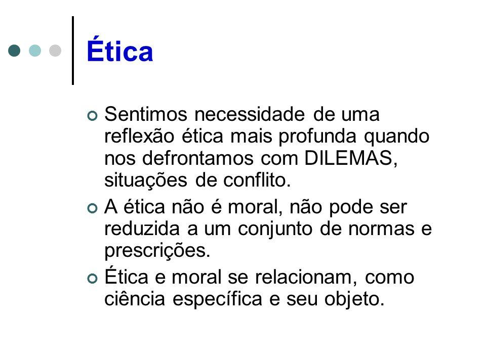 Ética Sentimos necessidade de uma reflexão ética mais profunda quando nos defrontamos com DILEMAS, situações de conflito.