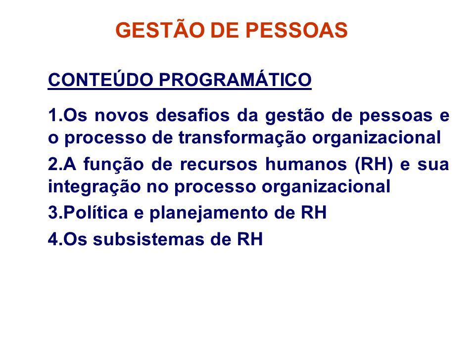 GESTÃO DE PESSOAS CONTEÚDO PROGRAMÁTICO