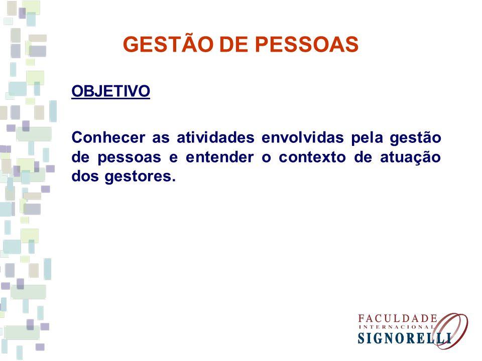 GESTÃO DE PESSOAS OBJETIVO