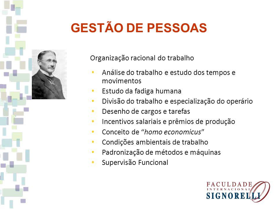 GESTÃO DE PESSOAS Organização racional do trabalho