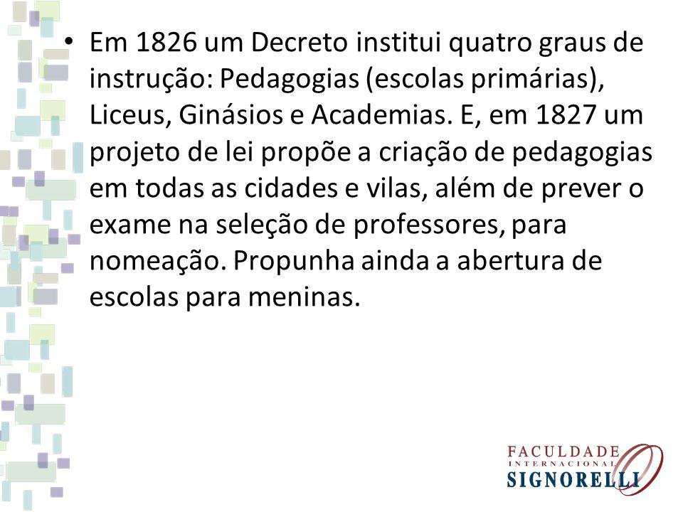 Em 1826 um Decreto institui quatro graus de instrução: Pedagogias (escolas primárias), Liceus, Ginásios e Academias.