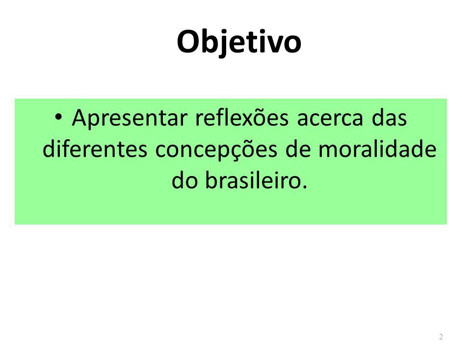 Objetivo Apresentar reflexões acerca das diferentes concepções de moralidade do brasileiro.