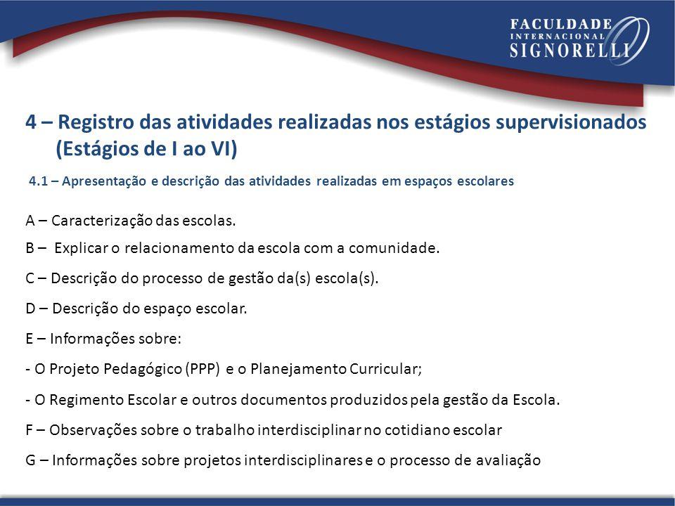 4 – Registro das atividades realizadas nos estágios supervisionados