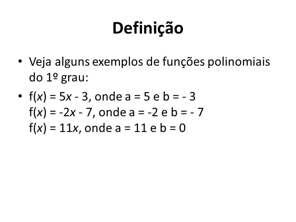 Definição Veja alguns exemplos de funções polinomiais do 1º grau: