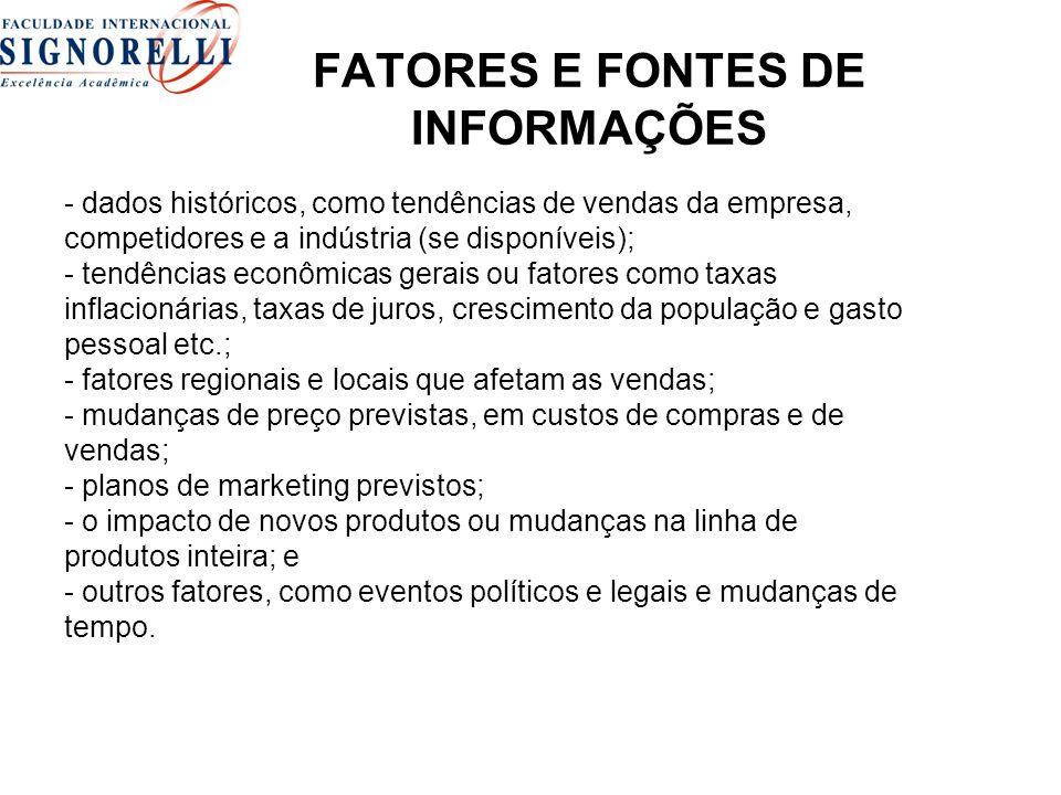 FATORES E FONTES DE INFORMAÇÕES